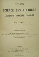 Cours de Sciece des Finances et de Legislation Financiere Française Ed.1925